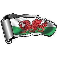 Novelty forabile OE Gash, effetto metallo per Reveal-Adesivo per auto con drago rosso gallese, motivo bandiera Wales CYMRU 140 x 75