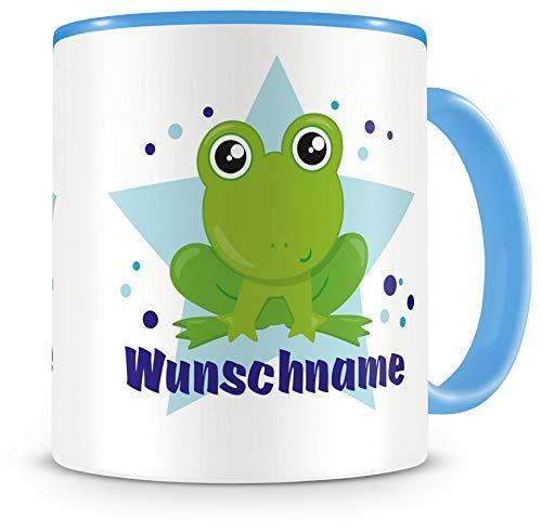 Samunshi® Kinder-Tasse mit Namen und Baby Frosch als Motiv Bild Kaffeetasse Teetasse Becher Kakaotasse Tasse Baby-tassen