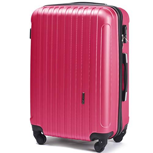Wings luggage carrello spazioso - valigia leggera per aeroplano - custodia lussuosa e moderna con impugnatura telescopica a due stadi e lucchetto a combinazione (rosa, l 74x49x30)