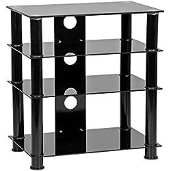 MMT Furniture Designs - Meuble Hi-FI à 4 étagères en Verre Noir - Hauteur : 650 mm