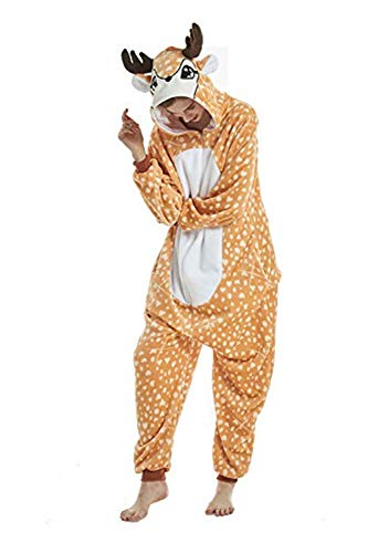 (Spphin's Tier Hirsch Pyjamas Cosplay Kostüm Karneval Halloween Pyjamas Schlafanzug mit Kapuze Erwachsene)