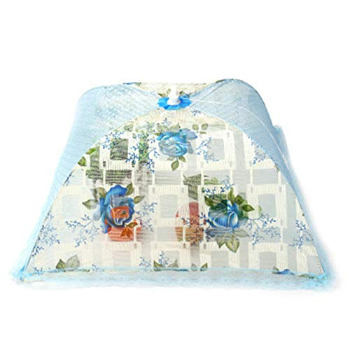QXM Hochwertiger Lace Faltbarer Food Dish Cover Tischabdeckung Fly Cover Table Cover Square,Blue Blue Square Dish