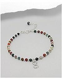 BrendaStyle Bijoux Bracelet Infinity Pour Femme En Argent 925/1000 Avec Agate - (17.5CM - 20CM)