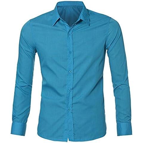 Amlaiworld Camisa de los hombres (Informal, Slim Fit, informal, de manga larga)