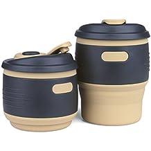 CONMING Taza de silicona plegable Taza de café de tapa bloqueada de prueba de fugas portátiles de viaje tazas de regalo plegables reutilizables Ideal para la lectura de senderismo de camping al aire libre (Amarillo)