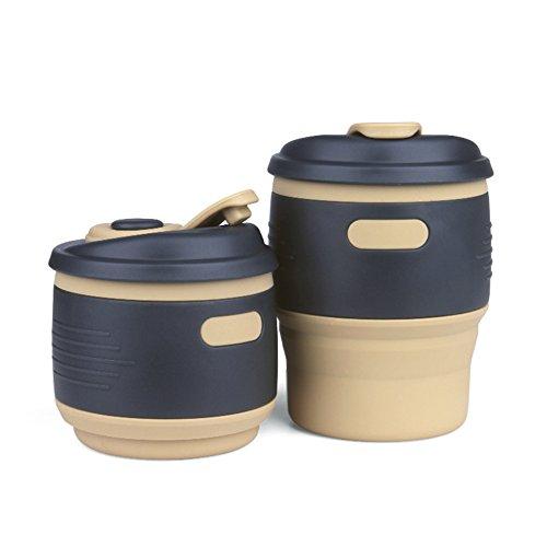 CONMING Tasse en silicone pliable Détecteur de fuite de voyage portatif à verrouillage de couvercle Coupe de café Reutilisable Tasses de cadeau pliable Idéal pour la lecture Randonnée Camping en plein air (Jaune)
