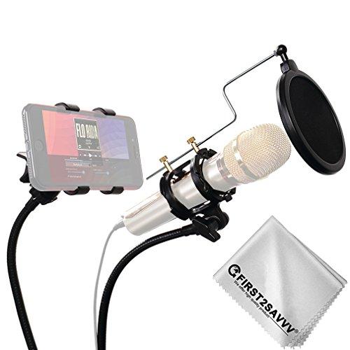 Newsbenessere.com 41SkaPN125L First2savvv Stand per cellulare & Microfono Asta di Sospensione Braccio a Forbici con Supporto Clip e Serratura da Tavolo & Filtro Pop Anti-vento per Microfono + pezza per pulire ZJ-ZB-01