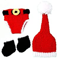 NUOBESTY Newborn Baby Christmas Santa Knitted Photography Prop Costume Outfits Set