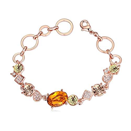 Aooaz placcato in oro braccialetto per le donne, matrimonio bracciale a maglies CZ cristallo Zirconia cubica, cerchio cavo giallo