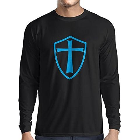 T-shirt à manches longues Chevaliers Templiers - Chevalier des Templiers (X-Large Noir Bleu)
