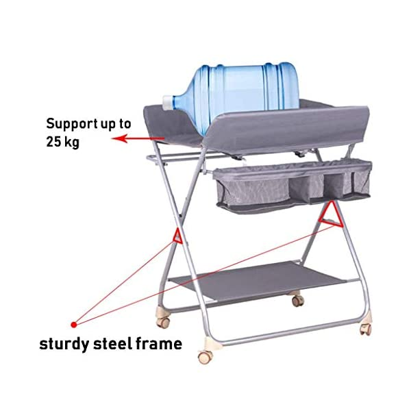 Nursery Baby Changing Table Folding Diaper Station for Small Spaces, Portable Infant Massage Station Dresser with Wheels, Grey, 0-3 Years Old AA-SS-Changing Table Stable Construction: Sturdy metal frame keep the table stable. While the other part is made of durable and wearable cotton. Folding: Easily fold it if you finish all the tasks! With its space saving design, you can store it behind a door. Large Storage Space: Equipped with 3 compartments aside the table, you can place soaps, towels and any other accessories conveniently. 4