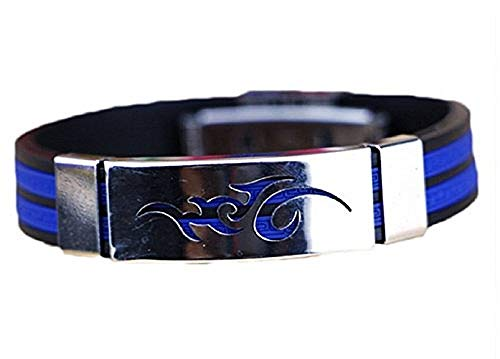 KIRALOVE Armband Geschenkidee Kautschuk Stahl Mann Boy Symbol Tribal Electric Blue Farbe Bijoux Geburtstag Valentinstag Schmuck Weihnachten Kostüm Schmuck - Mann Aus Stahl Kostüm