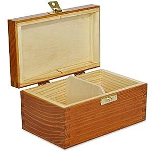 Creative Deco Hell-Braune Tee-Box aus Natürliches Kiefernholz | 21,3 x 16 x 7,5 cm | mit 6 Fächer und Deckel | Tee-Organizer | Perfekte Tee-Kiste für Decoupage, Dekoration Lagerung der Teebeutel