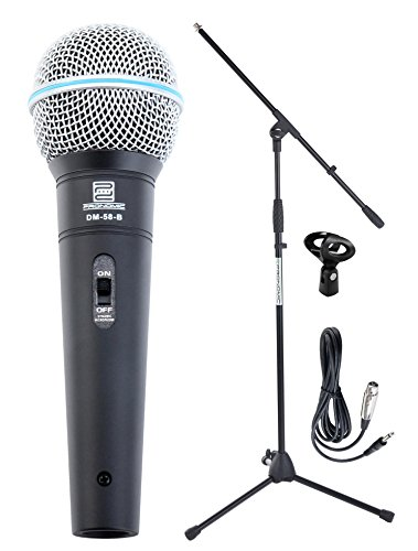 Pronomic Superstar Mikrofonset (Komplettset, dynamisches Gesangs Mikrofon, Galgenständer, 5m Klinke-Kabel, Mikrofonklemme) schwarz