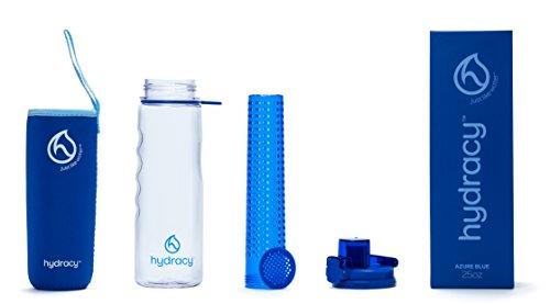 Hydracy Trinkflasche für Fruchtschorlen (750ml) in verschiedenen Farben, mit langem Infuser und Isolierhülle - 100% dicht und perfekt für Sport & Freizeit Azur Blau