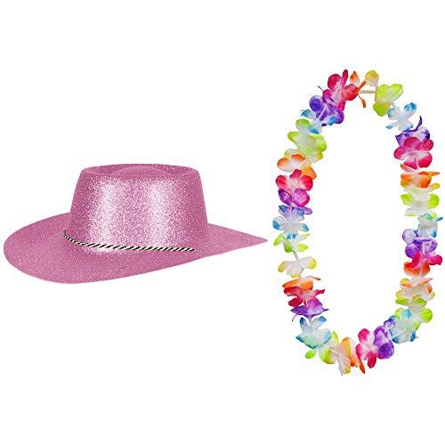 Rosa Glitzer und Hawaii Kette Fasching Masken Perücke Maske Blumenkette Pastellfarben Sheriff Texas ()