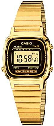 Casio Women'S Yellow Dial Stainless Steel Band Watch La670Wga 1D, Quartz, Dig