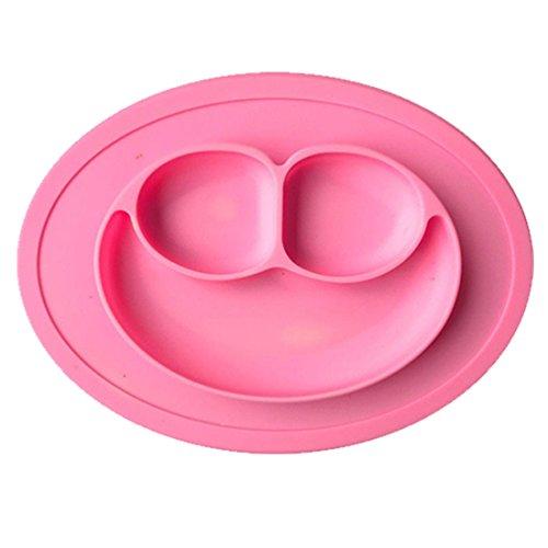jjonlinestore- Kids Placemate piastra ventosa antiscivolo Portable divisa sezione Smile Toddler Baby alimentazione piatto vassoio ciotola