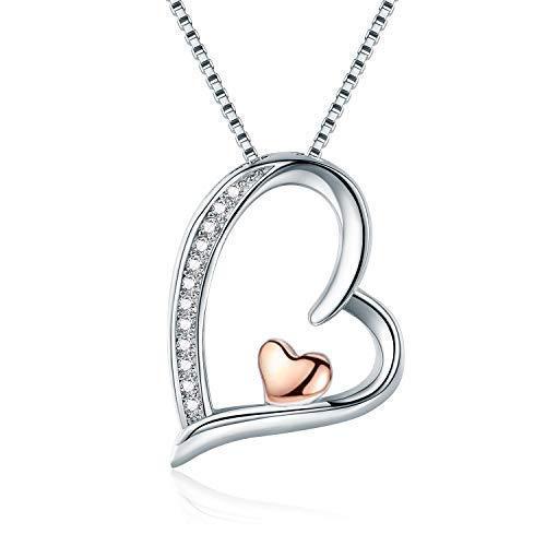 Herz Kette Damen 925 Silber Rosé-Gold Herz Anhänger Halskette Zirkonia 45CM Kettenlänge Kette für Damen