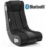 Wohnling Soundchair InGamer in Schwarz mit Bluetooth | Musiksessel mit eingebauten Lautsprechern | Multimediasessel für Gamer | 2.1 Soundsystem - Subwoofer | Music Gaming Sessel Rocker Chair