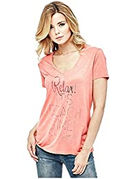 Guess Tee-shirt Ss Vn Relax Rose