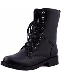 QinMM Bottes Femme homme Classiques Chaussures Plat, Martin Biker Armée  Militaire Combat Flattie Bottines À 159ad2a4f1db