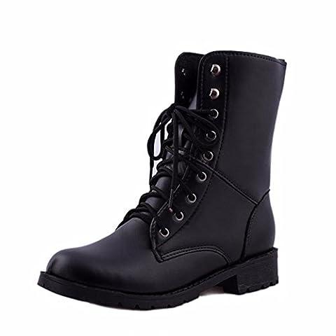 Bottes Femme homme Classiques Chaussures Plat, QinMM Martin Biker Armée Militaire Combat Flattie Bottines À Lacets (EU 39, Noir)