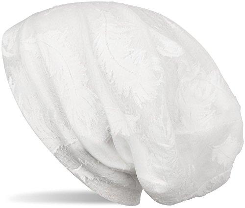 styleBREAKER Beanie Mütze mit Gewebtem Feder Muster, Slouch Longbeanie, Unisex 04024130, Farbe:Weiß - Mütze Gestrickte Baumwolle Aus