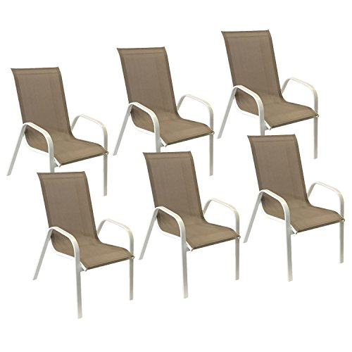 Happy Garden Lot de 6 chaises Marbella en textilène Taupe - Aluminium Blanc