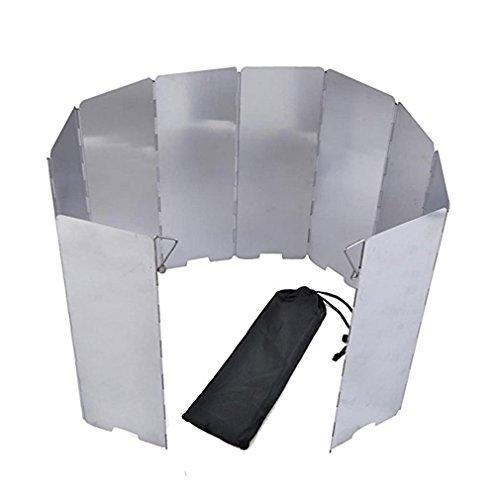 Aiyue 10 piatti para fiamma per fornello da campeggio pieghevole per forno a gas campeggio all'aperto, protezione anti-vento per fornello da campeggio (24 x 84 cm)