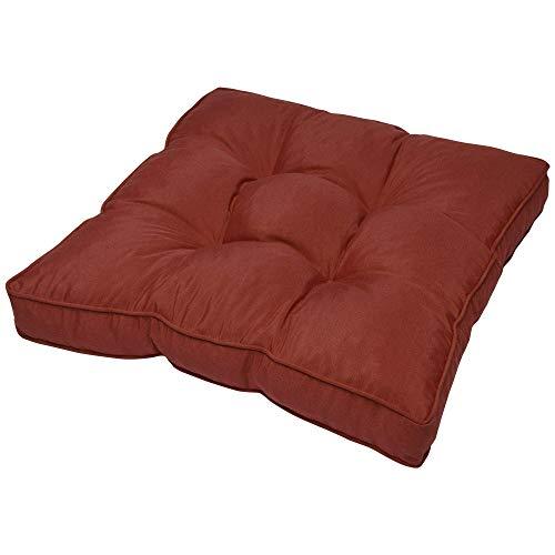 Beautissu Coussin Lounge - pour Assise - pour extérieur - Imperméable - Rouge - 70x70x10 cm - Idéal pour Jardin, Balcon