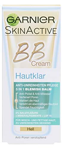 Garnier BB Cream Hautklar Anti-Unreinheiten in Hell, Anti-Pickel Tagescreme mit Salicylsäure und Sonnenschutz, 50 ml