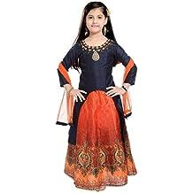 Sale Mart Gril's Lehenga Choli Dress Navy Blue&Orange-GGC-5473-352