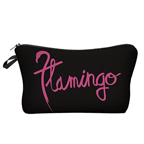 Modische Kulturtasche   Kosmetiktasche   Schminktasche (Make-Up Bag)   Kulturbeutel mit schönen Print-Motiven für Reisen, Urlaub und Alltag (Flamingo Script) - Kosmetiktasche Klein Niedlich