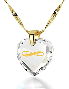 Vergoldete Herzkette I Love You und Unendlichkeitszeichen Graviert mit 24k Gold auf 17mm Zirkonia Anhänger, 45cm...
