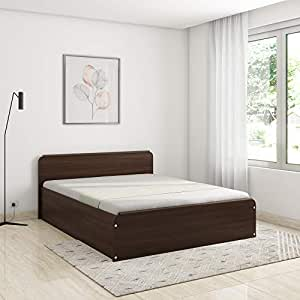 Amazon Brand - Solimo Polaris Engineered Wood Queen Bed with Box Storage (Walnut Finish)
