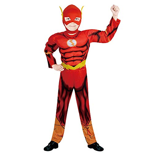 BaronHong Kids Boy Cosplay Kostüm Halloween Super Hero Muskel Maske Party Time (Flash, L) (Kid Hero Kostüm)