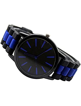 Einfach Unisex Damen Herren Silikon Armband Jellyfarben Gel Quarz Analog Sportuhr Armbanduhr Dunkelblau