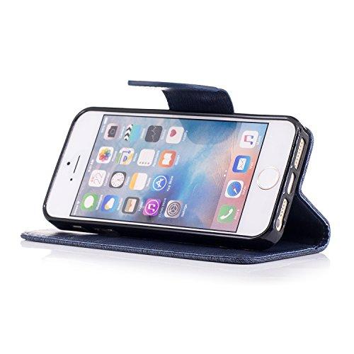 Coque pour iPhone 5 5S 5G / iPhone SE,Housse en cuir pour iPhone 5 5S 5G / iPhone SE,Ecoway motif ours gaufrage en cuir PU Cuir Flip Magnétique Portefeuille Etui Housse de Protection Coque Étui Case C bleu marine papillon embosser