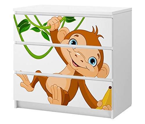 Set Möbelaufkleber für Ikea Kommode MALM 3 Fächer/Schubladen Kinderzimmer Affe Banane Kat2 Dschungel ML3 Aufkleber Möbelfolie sticker (Ohne Möbel) Folie 25C2543 -