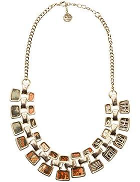 Desigual Damen-Collier Collar Chapas Blancas Alabama Versilbert 40 cm - 67G55G34011U