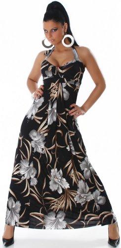 Jela london-robe dos nu pour femme avec motifs de fleurs floris taille unique (32–38) Noir - Noir/gris