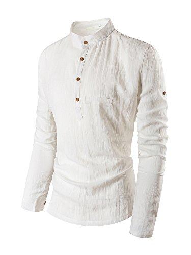 OCHENTA -  Camicia da cerimonia  - Tunica - Collo a U  - Maniche lunghe  - Uomo Off white