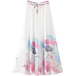 Mujeres Bohemio pintura china pluma de pavo real playa Fiesta partido maxi Largo Falda plisada Skirt (Large, Rosa)
