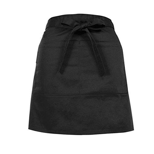Doppel-schürze (TININNA Damen Herren Frauen Schwarz Vorbinder Küche kochend Taille Schürze Kurze mit Doppel Taschen EINWEG Verpackung)