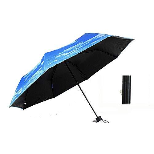 MAXJCN Paraguas Nubes Blancas Creativas y Cielo Azul súper Protector Solar Sol Negro plástico Plegable Paraguas (Color : 01)