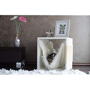 Kratz die Katz Design – Kratzbaum/Kratzwürfel/Katzenmöbel/Beistelltisch/in Weiß (Matt)