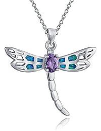 Bling Jewelry Ópalo Azul Libélula Color Amatistas Colgante Animal CZ Plata