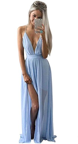 Sannysis Damen Sommer-Chiffon- Boho lange Maxi-Abend-Partei-Strand-Kleid (S, Blau) (Daenerys Targaryen Kostüm Hochzeit)