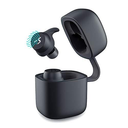 Havit auricolari bluetooth senza fili auricolare bluetooth 5.0 sportive in ear vere mini cuffie stereo wireless con ipx6 impermeabili, touch control, microfono per telefoni cellulari, nero+grigio